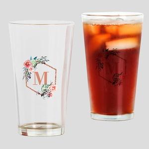 Chic Floral Wreath Monogram Drinking Glass