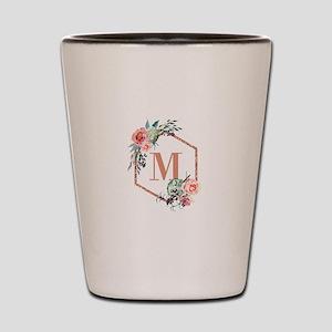 Chic Floral Wreath Monogram Shot Glass