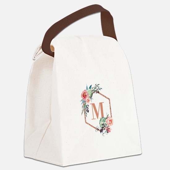 Chic Floral Wreath Monogram Canvas Lunch Bag