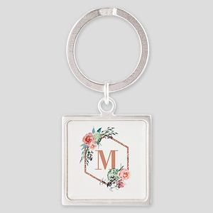 Chic Floral Wreath Monogram Keychains