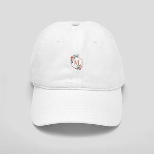 Chic Floral Wreath Monogram Baseball Cap