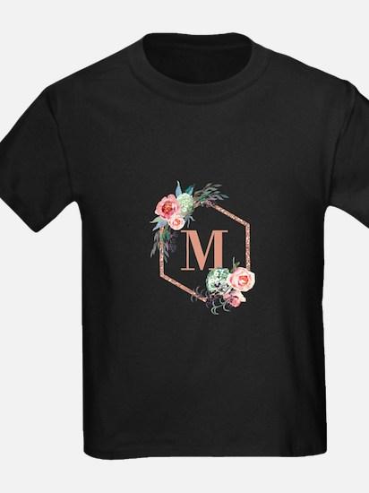 Chic Floral Wreath Monogram T-Shirt