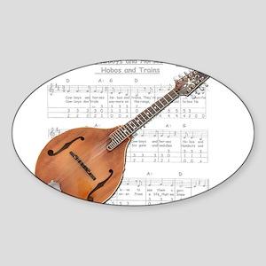 Mandolin and Cowboys Oval Sticker