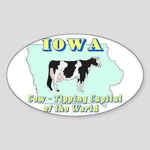 Iowa Cow Tipping Oval Sticker