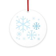 White Snow Flake Ornament (Round)