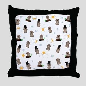 Groundhog Day Pattern Throw Pillow