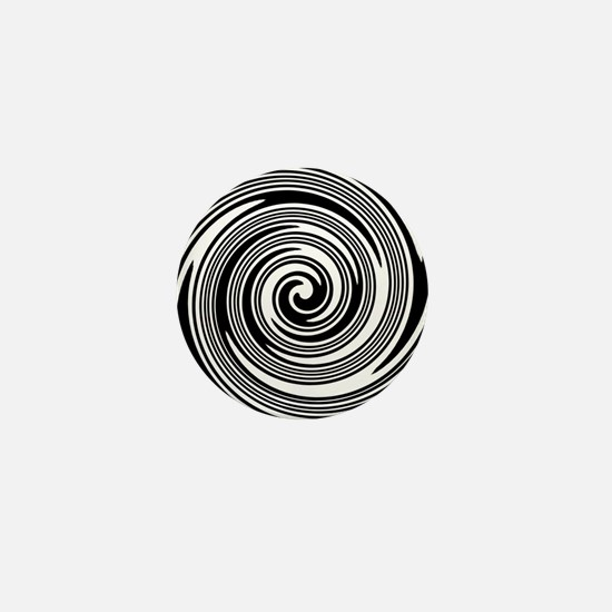 Black and white swirl pattern Mini Button