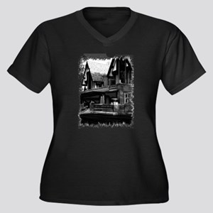 Old Haunted House Women's Plus Size V-Neck Dark T-