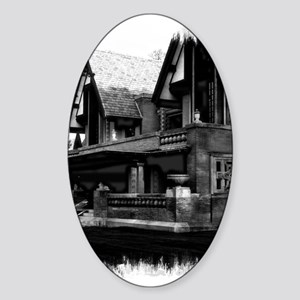 Old Haunted House Oval Sticker