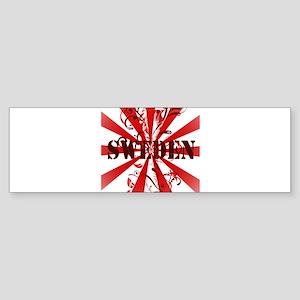 red vintage Sweden Bumper Sticker