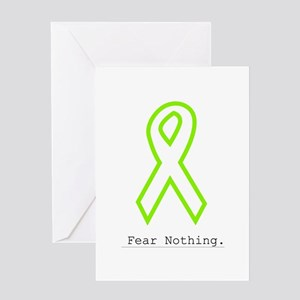 Lime Outline. Fear Nothing Greeting Cards