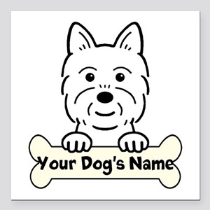 "Personalized Westie Square Car Magnet 3"" x 3"""