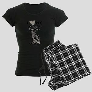 I Heart My American Shorthai Women's Dark Pajamas