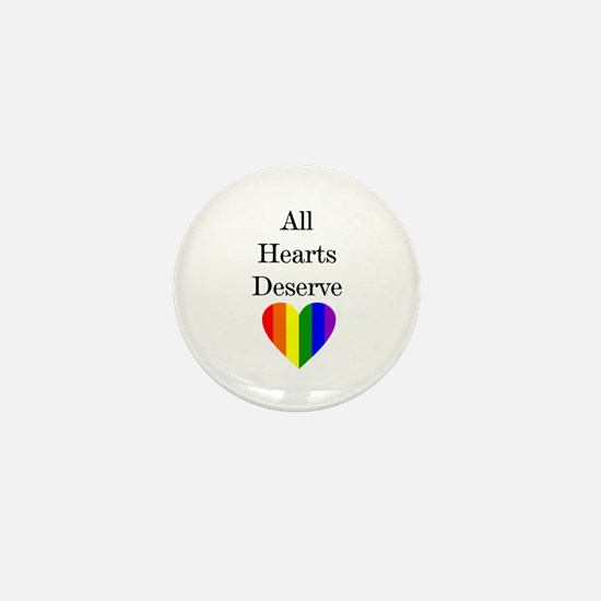 All Hearts Deserve Heart Rainbow Mini Button