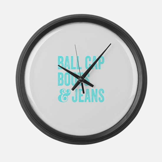 Ball Cap Boots and Jeans Large Wall Clock