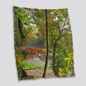 Lakeview Scenery Burlap Throw Pillow