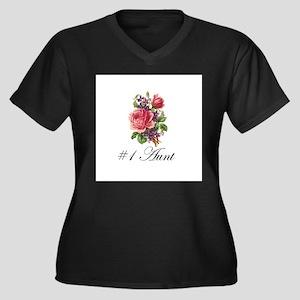 #1 Aunt Women's Plus Size V-Neck Dark T-Shirt