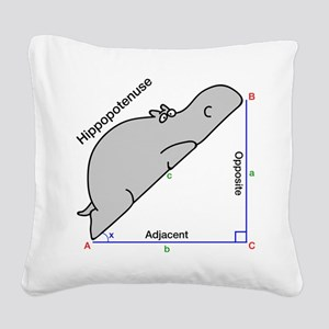 Hippopotenuse Square Canvas Pillow
