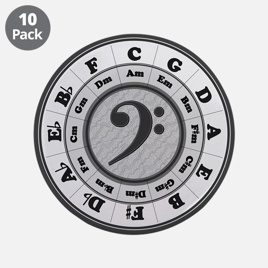 "Bass Clef Circle of Fifths 3.5"" Button (10 pack)"