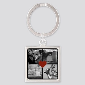 Photo Block with Heart Keychains