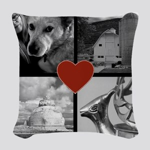 Photo Block with Heart Woven Throw Pillow