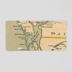 Vintage Map of Port Charlot Aluminum License Plate