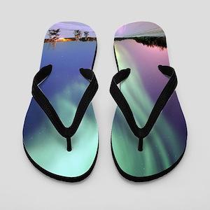 Northern Lights of Alaska Photograph Flip Flops