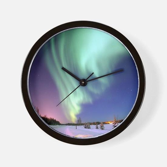 Northern Lights of Alaska Photograph Wall Clock