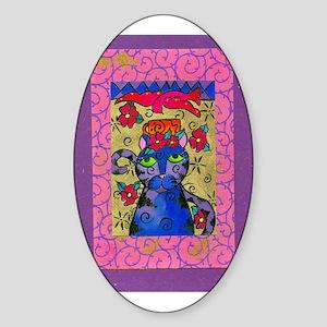 Tea Time Cat Oval Sticker
