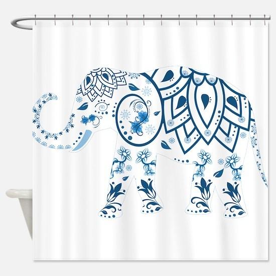 Blue Damask Elephant Shower Curtain