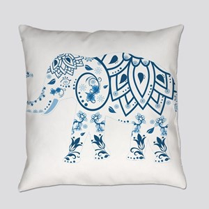 Blue Damask Elephant Everyday Pillow