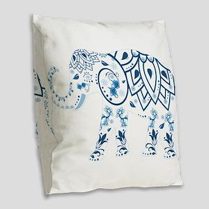 Blue Damask Elephant Burlap Throw Pillow