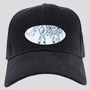 Blue Damask Elephant Black Cap
