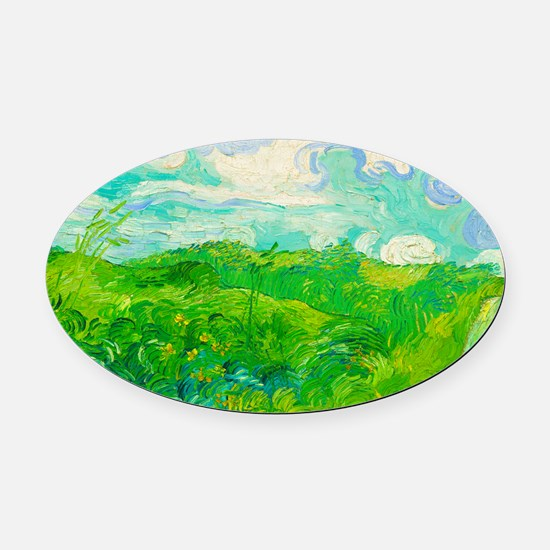 Green Wheat Fields by Vincent van Gogh Oval Car Ma