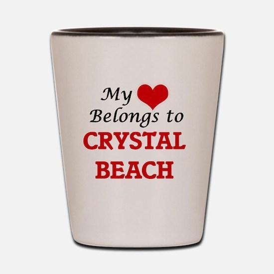 My Heart Belongs to Crystal Beach Texas Shot Glass