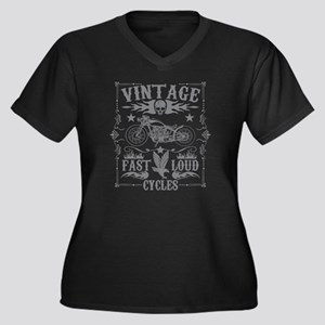 Vintage Motorcycles Fast and Lou Plus Size T-Shirt