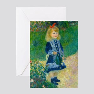 A Girl with a Watering Can by Renoir Greeting Card