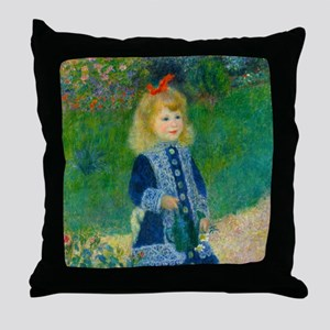 A Girl with a Watering Can by Renoir Throw Pillow