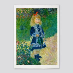 A Girl with a Watering Can by Renoir 5'x7'Area Rug