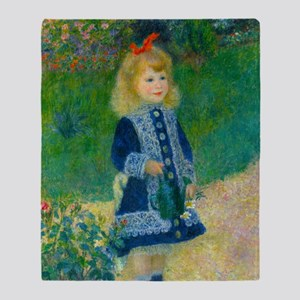 A Girl with a Watering Can by Renoir Throw Blanket