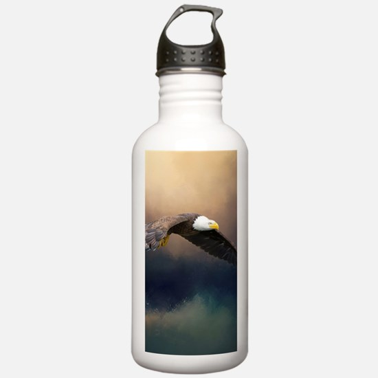 Flying american bald eagle Water Bottle