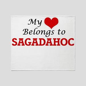 My Heart Belongs to Sagadahoc Maine Throw Blanket