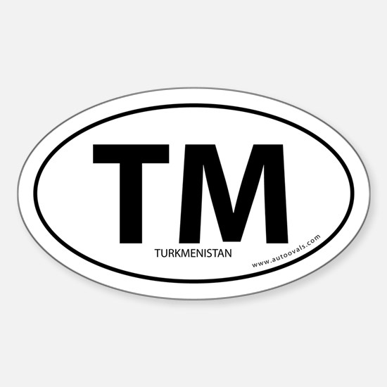 Turkmenistan country bumper sticker -White (Oval)