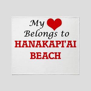 My Heart Belongs to Hanakapi'Ai Beac Throw Blanket