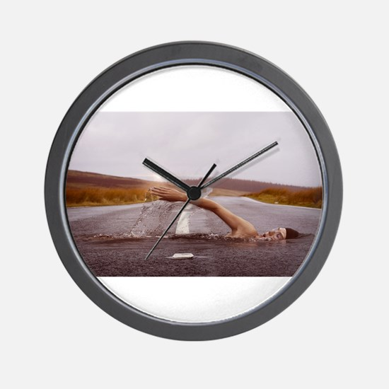 Swimming Down the Street Wall Clock