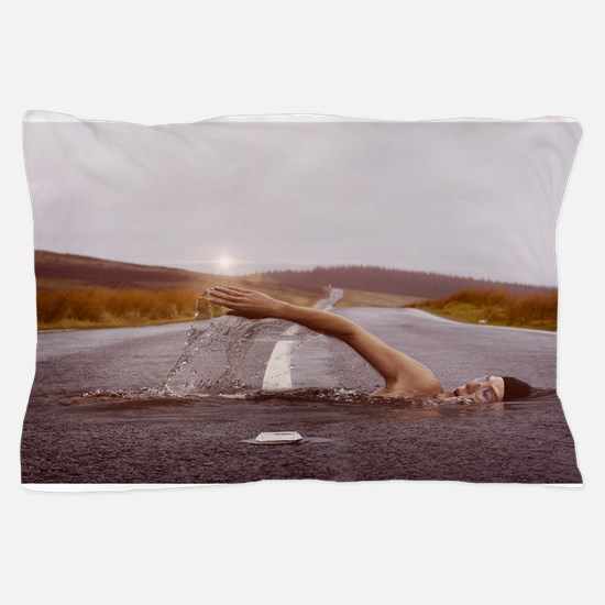 Swimming Down the Street Pillow Case