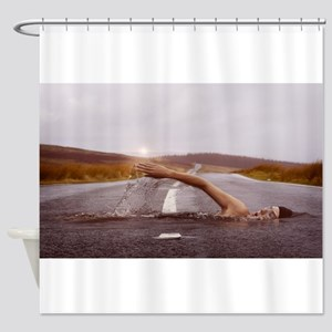 Swimming Down the Street Shower Curtain