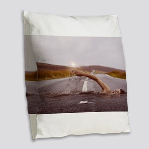 Swimming Down the Street Burlap Throw Pillow