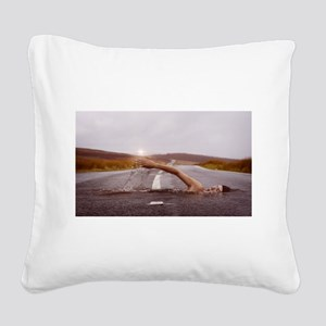 Swimming Down the Street Square Canvas Pillow