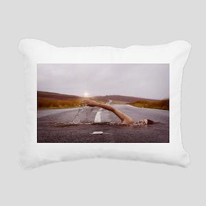 Swimming Down the Street Rectangular Canvas Pillow